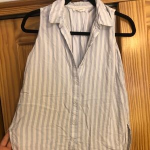 White and blue stripped sleeveless button down
